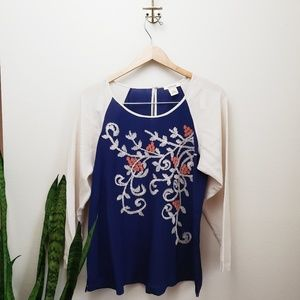 Sundance embroidered color block blouse blue L